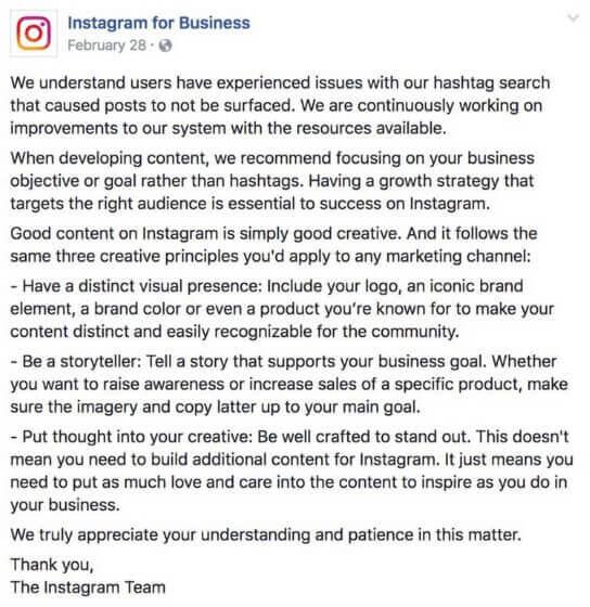 Captura de pantalla del comunicado de Instagram sobre Shadowban o menor visibilidad en redes